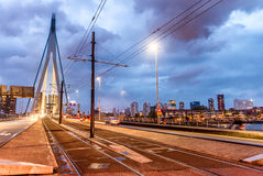 Rotterdam night skyline on a stormy evening Royalty Free Stock Photo