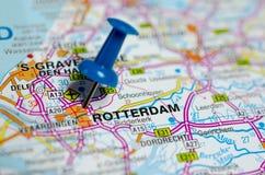 Rotterdam no mapa fotografia de stock