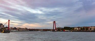 Rotterdam, orizzonte olandese e ponte di Willem nel pomeriggio immagine stock