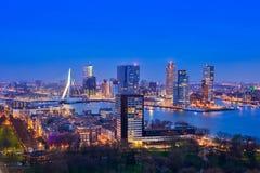 Rotterdam på skymning från Euromast Arkivbilder