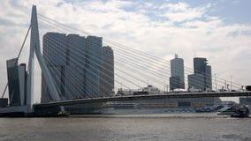 Rotterdam panorama. Panorama of Rotterdam city centre with skyscrapers, bridge and harbour Stock Photo