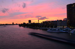 Rotterdam panorama in twilight, Netherlands Royalty Free Stock Photo