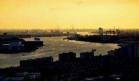 Rotterdam. Port during evening lights Stock Image