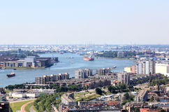 Rotterdam Port seen from Euromast, Holland royalty free stock photography