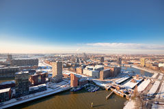 Rotterdam residential and industrial districts. View. Horizontal shot royalty free stock images