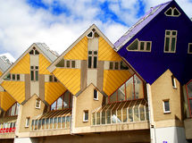 Rotterdam modern houses. Yellow and blue houses in rotterdam Stock Photo