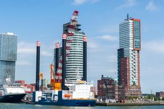 Rotterdam's modern architecture at the Kop van Zuid Royalty Free Stock Image