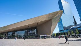 Rotterdam`s new Central Station with crowd of people in Rotterdam, Netherlands. Rotterdam, Netherlands - May 15, 2019: Rotterdam`s new Central Station with stock footage