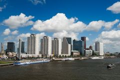 Rotterdam skyline. And the meuse river the Netherlands, Europe Royalty Free Stock Image