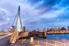 Rotterdam skyline. Beautiful view after sunset Royalty Free Stock Images