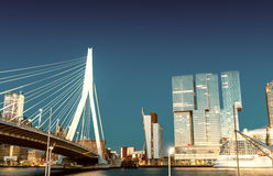 Rotterdam skyline from Erasmus Bridge Royalty Free Stock Image