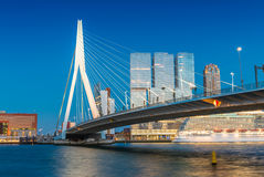 Rotterdam skyline from Erasmus Bridge Royalty Free Stock Photos
