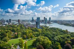 Rotterdam skyline with Erasmus bridge. Aerial view of Rotterdam, The Netherlands, Holland. A major logistic and economic centre, Rotterdam is Europe`s largest royalty free stock photos