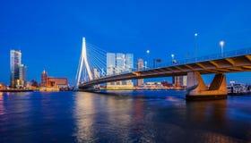 Rotterdam Skyline. Erasmus bridge and modern buildings at twilight in Rotterdam, The Netherlands Stock Photo
