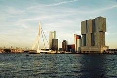 Rotterdam skyline with Erasmus Bridge Stock Photo