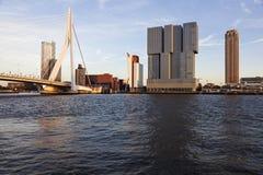 Rotterdam skyline with Erasmus Bridge Stock Images