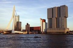 Rotterdam skyline with Erasmus Bridge Stock Photography