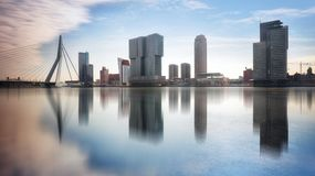 Rotterdam Skyline with Erasmusbrug bridge, Netherlands Stock Photography