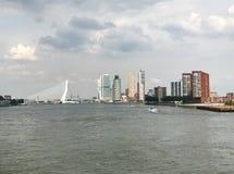 The Rotterdam Skyline. With the Erasmusbrug bridge, Netherlands Royalty Free Stock Photography