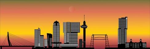 Rotterdam skyline with hotel, landmarks Stock Images