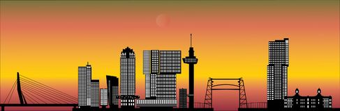Rotterdam skyline with hotel, landmarks Royalty Free Stock Photography