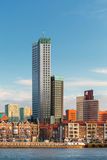 Rotterdam skyline with houses and skyscrapers Royalty Free Stock Photos