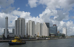 Rotterdam Skyline. Skyline Rotterdam and the Meuse river Royalty Free Stock Image
