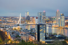Rotterdam Skyline at night in Netherlands Royalty Free Stock Photo