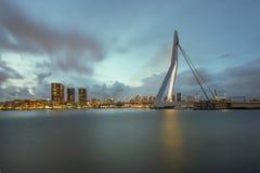 Rotterdam Skyline at night in Netherlands Stock Photo
