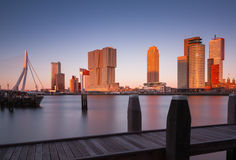 Rotterdam skyline after sunset Royalty Free Stock Photography