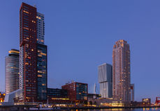 Rotterdam skyline at sunset Stock Images