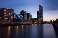 Rotterdam skyline after sunset Stock Photography