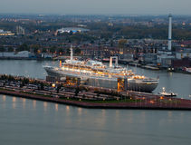 Rotterdam SS. The former cruise ship, the SS Rotterdam seen from an altitude of 112 meters on the Euromast Royalty Free Stock Image