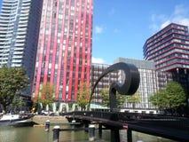 Rotterdam stad, modern architectuur Arkivbilder