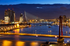 Rotterdam twilight bridge Royalty Free Stock Photos