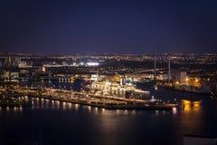 Rotterdam vid night_boat royaltyfri foto