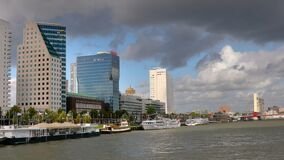 Rotterdam from the water stock video