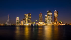 Rotterdam Wilhelmina Pier at Night Stock Photo