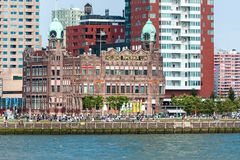 Rotterdams Kop van Zuid with Wilhelminapier and Hotel New York Stock Images