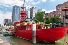 Rotterdams Wijnhaven with old fireship Stock Photography