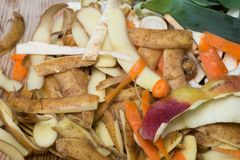 Rotting kitchen fruits and vegetable waste for compost stock images