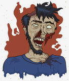 Rotting Male Zombie in Cartoon Design, Vector Illustration Stock Images