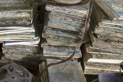 Rotting school books. In piles with mold Royalty Free Stock Images