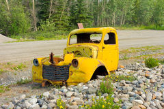 A rotting truck on display in the yukon territories Stock Photos