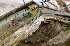 Rotting wooden hull of boat Royalty Free Stock Photos