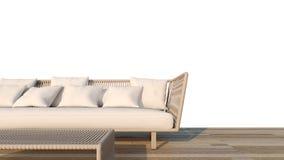 Rottingsoffauppsättning med den vita tolkningen bakgrund/3D Royaltyfria Foton