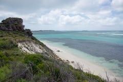 从Rottnest海岛沙丘的高的海景视图 免版税库存图片