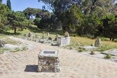 Rottnest Cemetery. ROTTNEST ISLAND,WA,AUSTRALIA-OCTOBER 16,2016: Gravestones in natural reserve setting at Rottnest Cemetery on Rottnest Island in Western Royalty Free Stock Photo