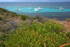 Rottnest Island. Yachts on Western end of Rottnest  Island,Western Australia Royalty Free Stock Photo