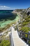 The wooden stairs at Porpoise bay. Rottnest Island. Western Australia. Australia. Rottnest Island is an island off the coast of Western Australia, located 18 Royalty Free Stock Image